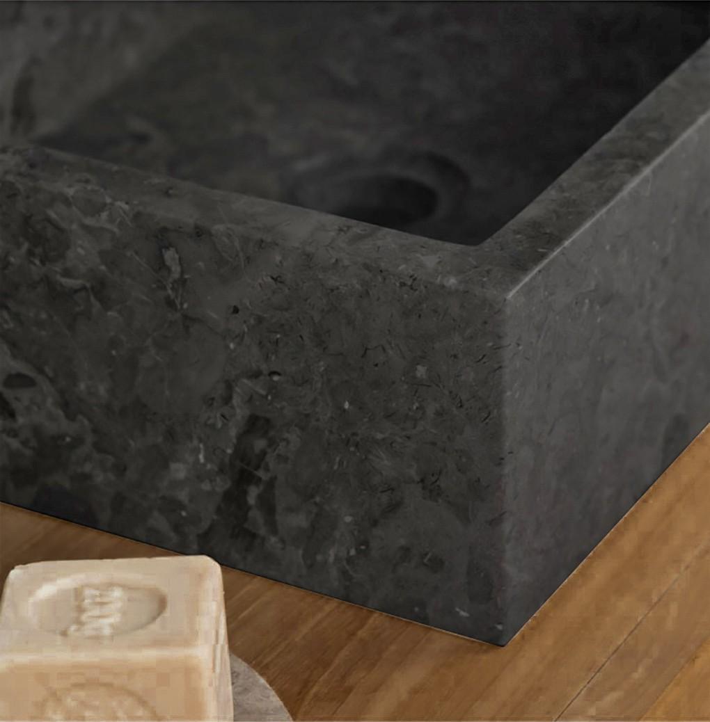 Grey Polished Rectangular Stone Sink - 50 x 35 x 12cm.