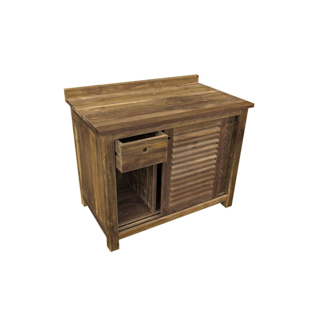 The 'Timbak' Louvered Reclaimed Teak Washstand