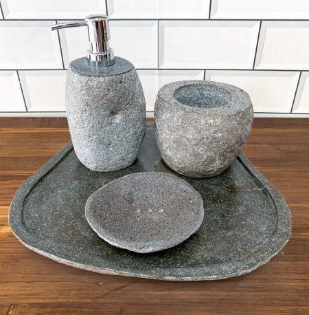 Bathroom Accessory Set - Natural River Stone