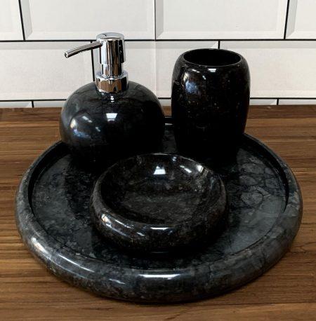 Bathroom Accessory Set - Polished Cream Marble