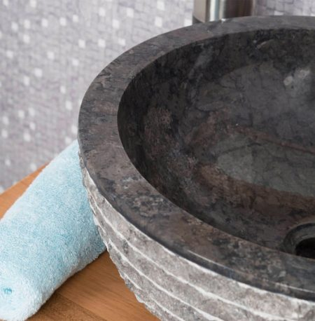 Black Marble Bowl Sink with Carved Exterior 40 x 15cm