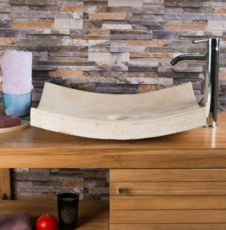 Cream Hammered 'Zen Style' Basin – 50 x 40 x 12cm.