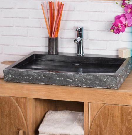 Large Black Rectangular Stone Sink - 70 x 48 x 7.5cm.
