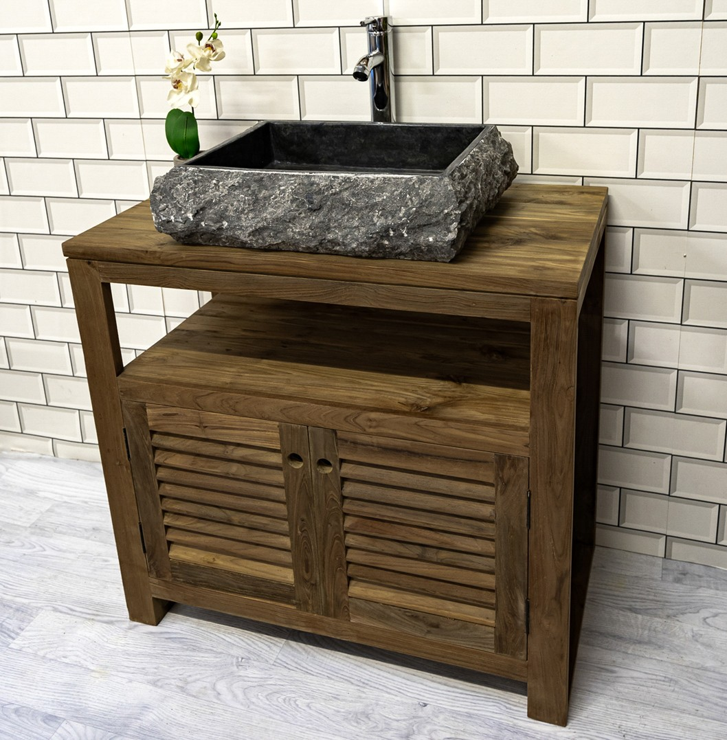The 'Sorok' Reclaimed Teak Washstand with Louvered Cupboards